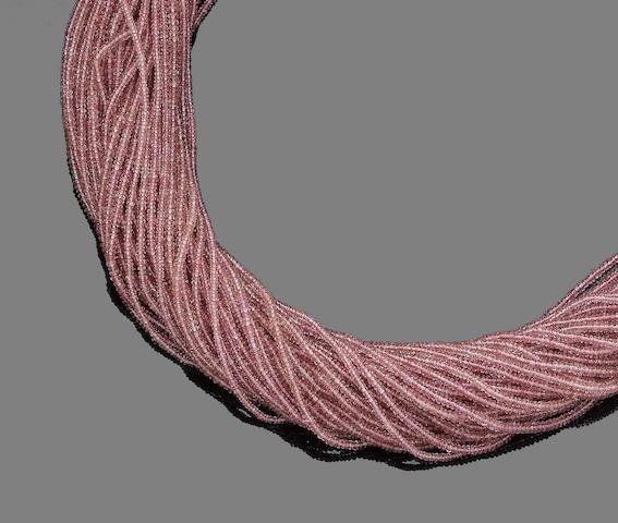 A pink tourmaline torsade