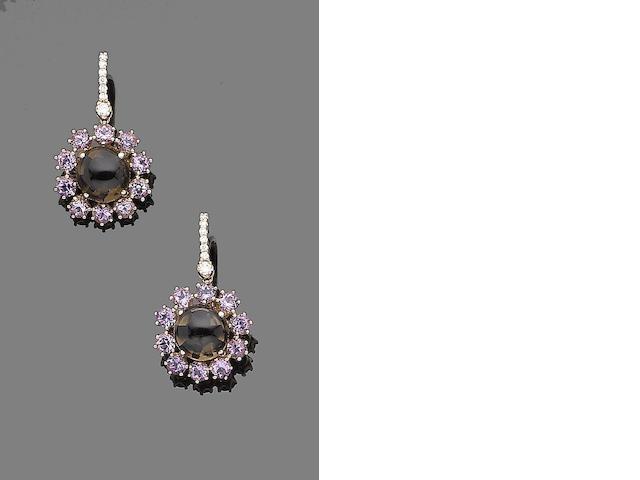 A pair of quartz, amethyst and diamond earrings