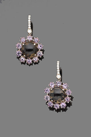 A pair of quartz, amethyst and diamond earrings