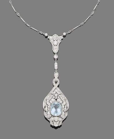 A belle époque aquamarine and diamond pendant necklace,