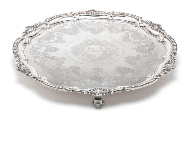 A late Victorian  silver salver by Goldsmiths & Silversmiths Co Ltd, London 1900