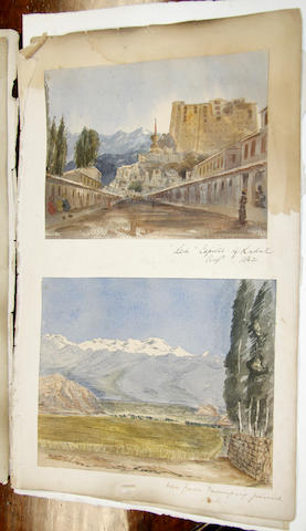 English School, 19th century A collection of topographical watercolours from an album to include views of Tangier, Aden, Ladak, Cashmere, on loose album pages, most inscribed and dated to the 1860's various sizes