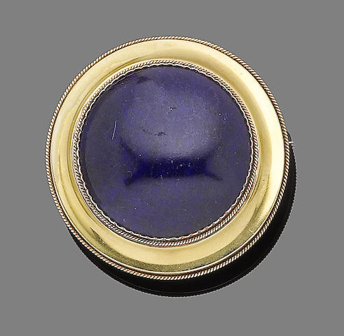 A mid 19th century lapis lazuli brooch, by Wiese