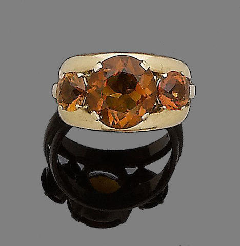 A citrine dress ring,  by Jean Fouquet