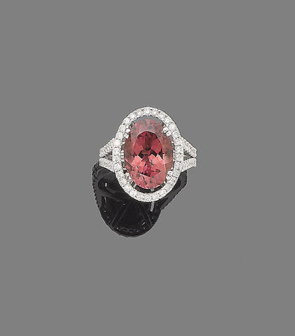 A tourmaline and diamond cluster ring