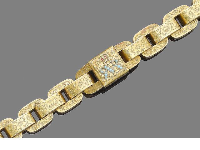 A gold, enamel and turquoise link bracelet,
