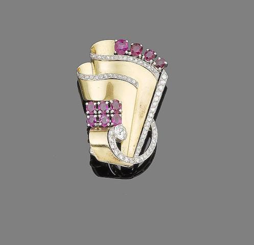 A ruby and diamond clip,