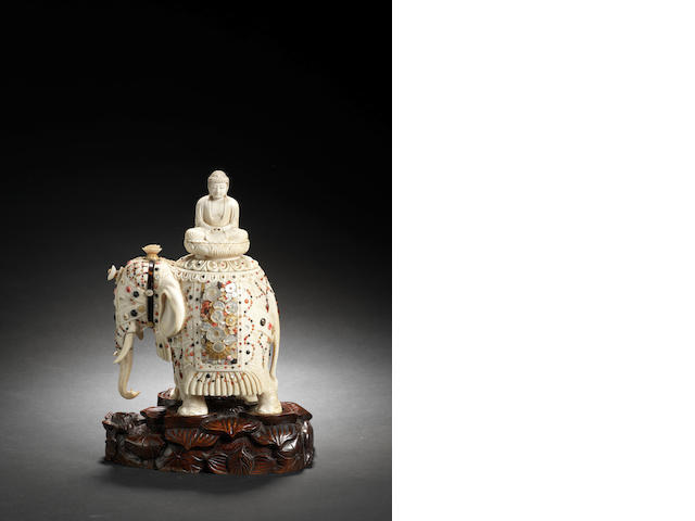Japanese shibyama and ivory elephant, on a wooden stand