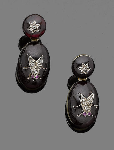 A pair of garnet, ruby and diamond earrings,