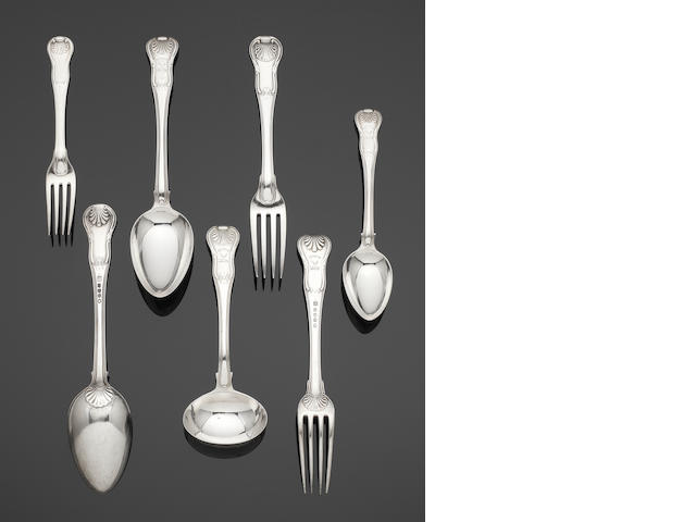 A George III silver Hour Glass pattern table service of flatware by Eley, Fearn & Chawner, or Eley & Fearn,  London 1813 / 1814,  (26)