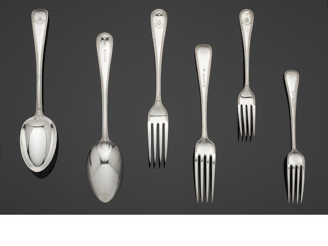 A Victorian  silver Old English bead pattern part table service of flatware by George Adams, London 1870  (36)