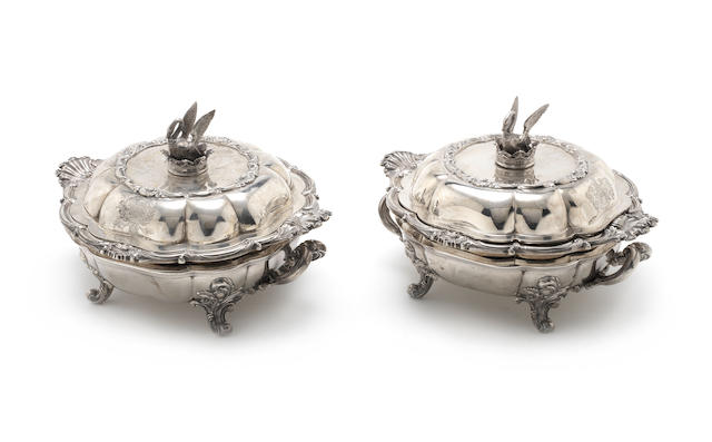 A pair of Victorian entrée dishes and covers with Old Sheffield Plate warmers by William Kerr Reid, London 1842  (2)