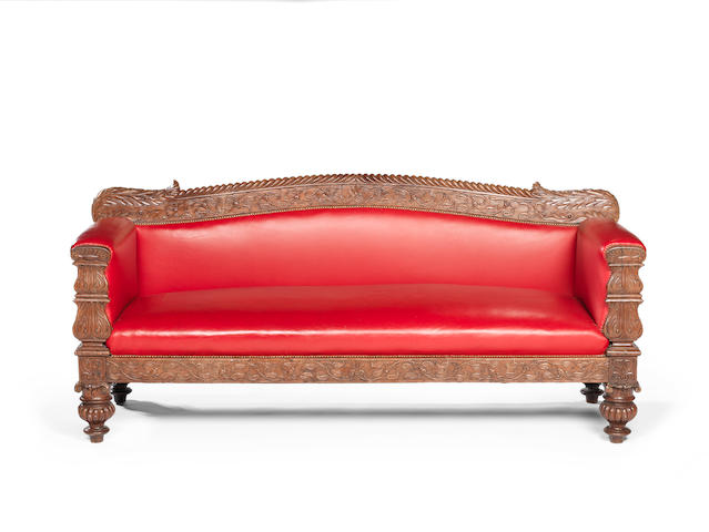 A mid 19th century Ango-Indian carved padouk settee