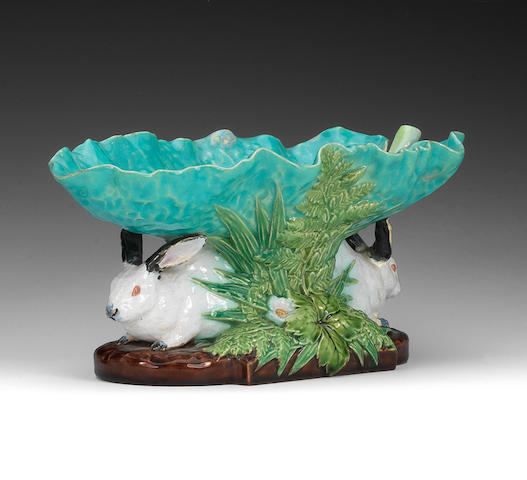 A Minton Majolica rabbit comport, dated 1868