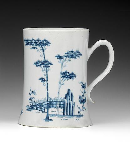 A large Worcester mug, circa 1754-55
