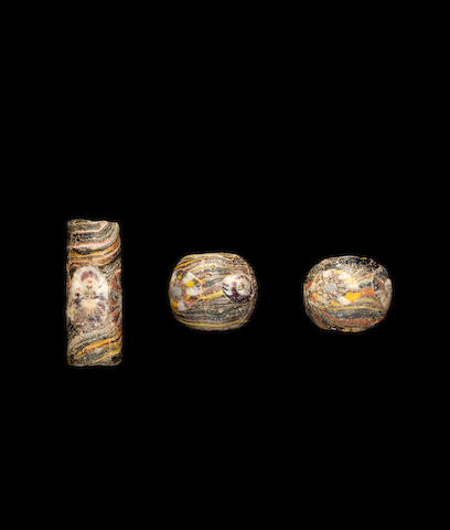 3 mosaic glass beads (2 spherical, 1 cylindrical)
