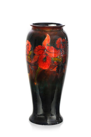 "A large Walter Moorcroft baluster ""Orchid"" pattern vase, circa 1950"