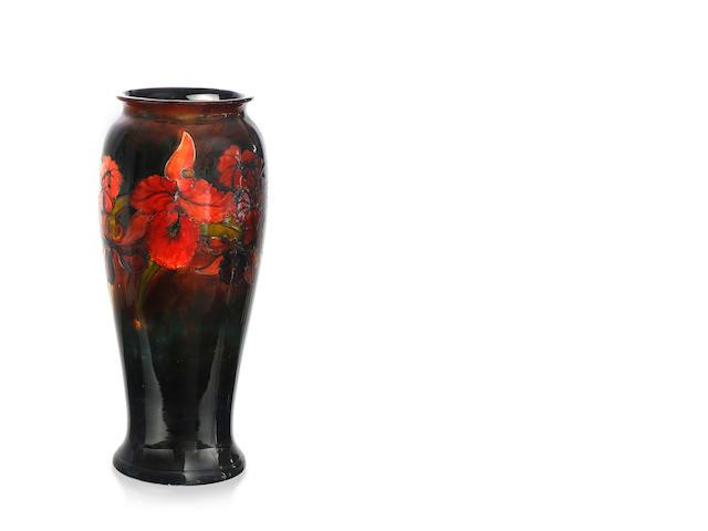 "A large Walter Moorcroft baluster ""Orchid"" pattern vase, circa 1950"