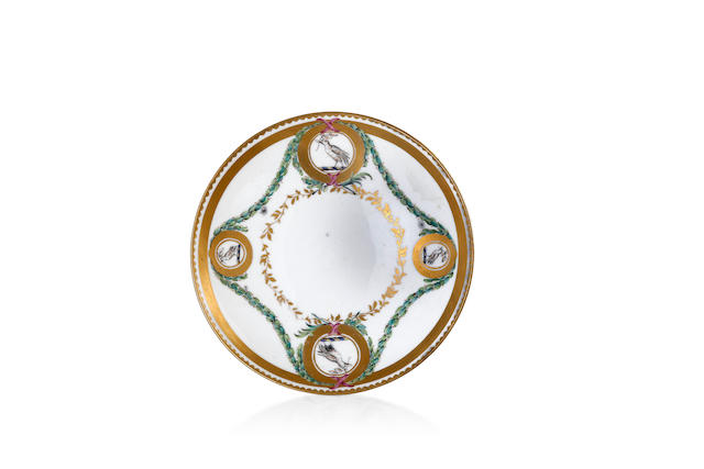 A Bristol porcelain saucer from the Chough service, circa 1775