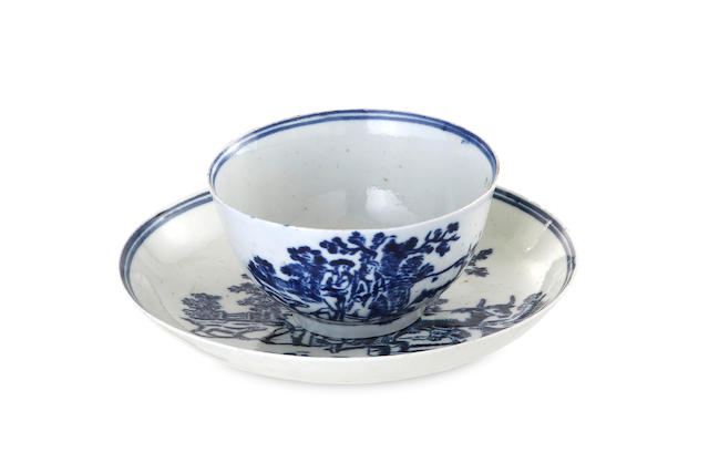 A Liverpool porcelain tea bowl and saucer, circa 1765