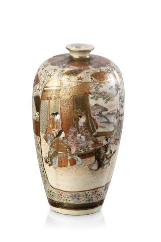 A Japanese Satsuma fluted ovoid vase, Meiji Period