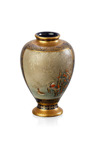 A Japanese Satsuma blue ground vase, Meiji Period signed Kikozan Zo