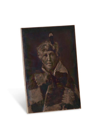 A Sherwin and Cotton dust pressed Emaux Ombrants portrait tile of ... modeled by George Cartlidge