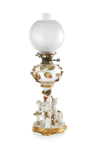 A Moore Brothers porcelain spirit lamp, circa 1895