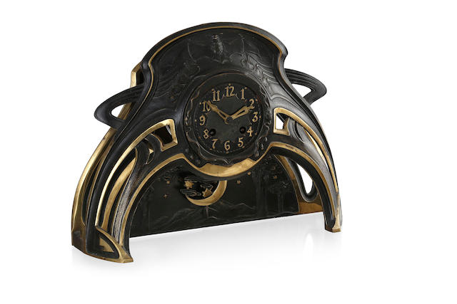 A German Art Nouveau gilt and cast bronze mantel clock, cast by Akteien Gesellschaft