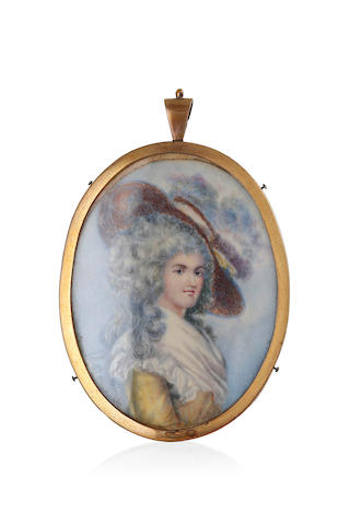 A Georgian miniature on ivory of a lady