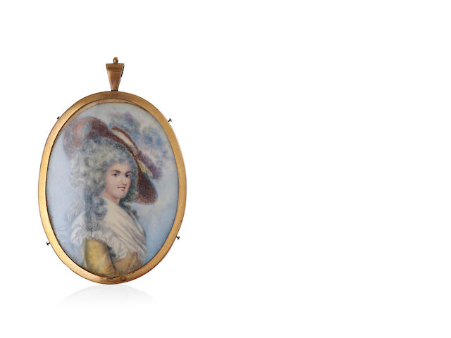 A Georgian miniature on ivory of a lady in a large feathered hat