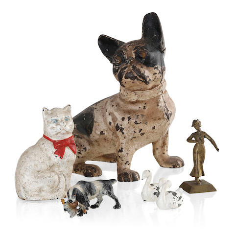 A painted cast iron figure of a French Bulldog,