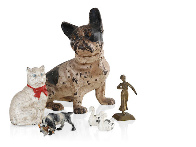 A painted cast iron figure of a French Bulldog 20 cm high