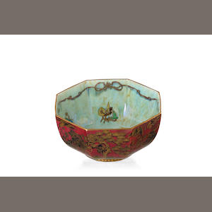A Wedgwood Fairyland ruby lustre bowl designed by Daisy Makeig Jones