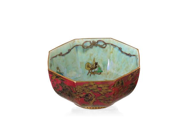A Wedgwood Fairyland ruby lustre bowl designed by Daisy Makeig Jones