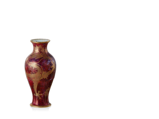 A Wedgwood Dragon ruby lustreware vase