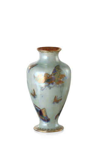 A Wedgwood mother of pearl lustre baluster butterfly vase