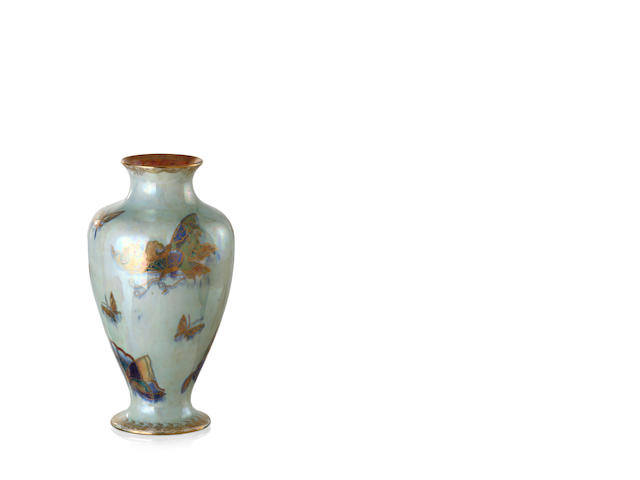 A Wedgwood lustreware baluster butterfly vase