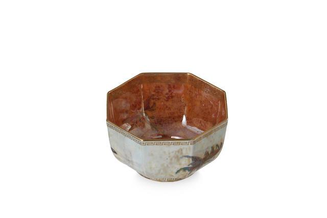 A Wedgwood lustreware octagonal butterfly bowl