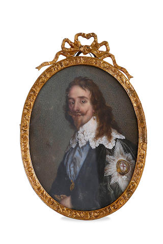 A Georgian miniature on ivory of King Charles I of England, after the portrait by Anthony van Dyke