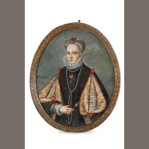 A Georgian miniature on ivory of an elegant lady wearing lace ruff gown with ... sleaves and long stings of pearls,