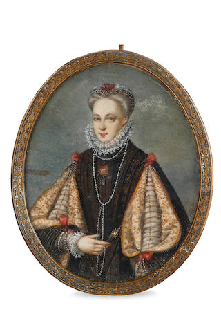 A Georgian miniature on ivory of an elegant lady