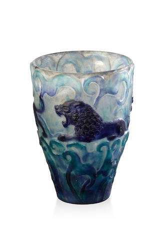 'Lions' A Pate de Verre Glass vase by Gabriel Argy-Rousseau, introduced in 1926