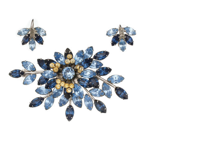 An Australian costume 'Originals by Simpson' spray brooch and earrings set circa 1950 by Simpson Jewellery Pty Ltd Sydney, with blue and white paste and brilliarts original box