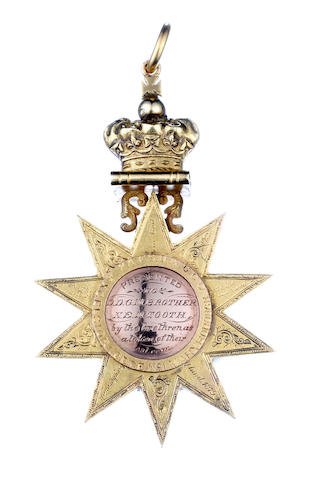 A large Australian gold Masonic Medal  by Evan Jones 11 Hunter Street, Sydney, circa 1879