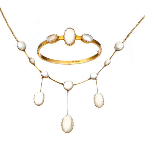 An Australian suite of a moonstone bangle and necklace bhy William Kerr, George Street, Sydney