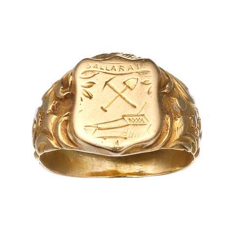 An Australian gold signet ring, by Leopold Wagner and Samuel Woollett, Ballarat, circa 1855 An Australian gold signet ring, by Leopold Wagner and Samuel Woollett, Ballarat, circa 1855