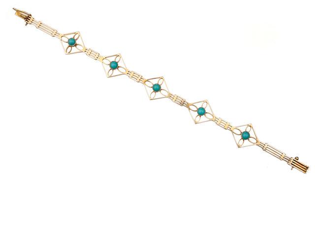 An Australian turquoise and gold bracelet by Edward Sansome, 339 Elizabeth Street Sydney, circa 1900