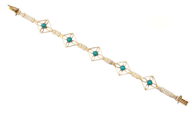 An Australian turquoise and gold bracelet by Edward Sansome, 339 Elizabeth Street Sydney, circa 1900