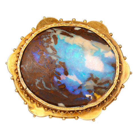 An Australian opal and gold brooch by Timothy T Jones, George Street Sydney, circa 1880